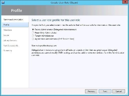 System Center Virtual Machine Manager's Create User Role Wizard