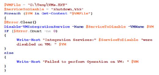 Disable-VMIntegrationService Hyper-V cmdlets