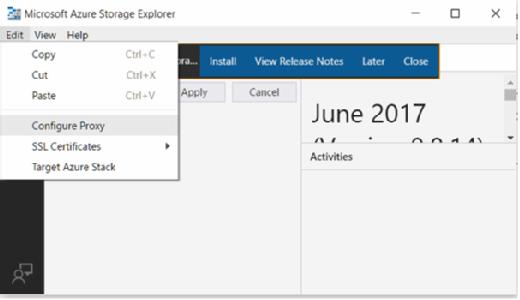 Azure Storage Explorer proxy server settings