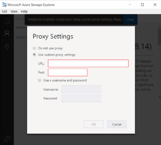 Proxy setting configuration