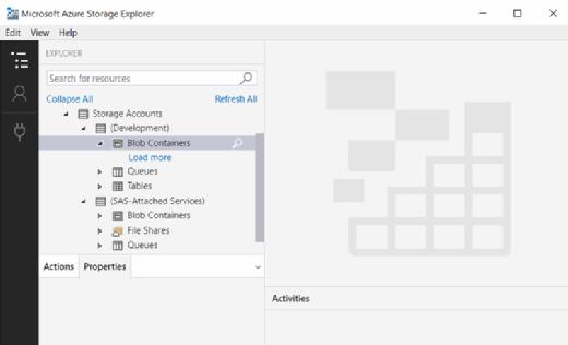 Storage accounts in Azure Storage Explorer