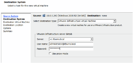 Destination server details