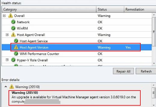 SCVMM agent version