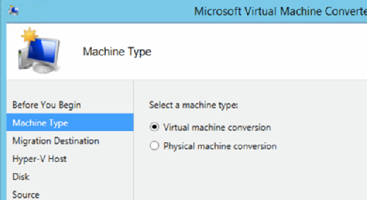 Virtual machine conversion selected