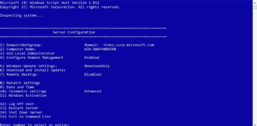 Windows Server 2016 Server Core installation.