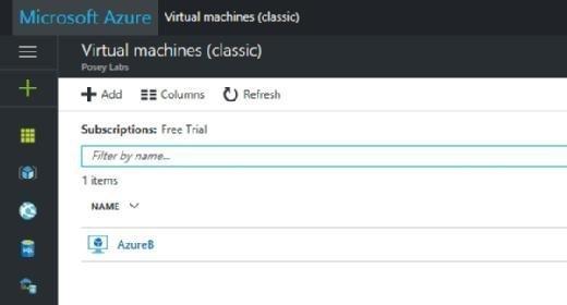Azure classic portal's view of Azure VMs