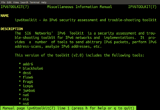 SI6 Networks' IPv6 Toolkit contents.