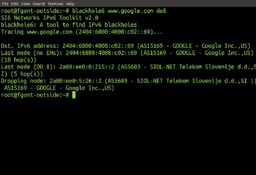 SI6 Networks' IPv6 Toolkit's blackhole6 tool.