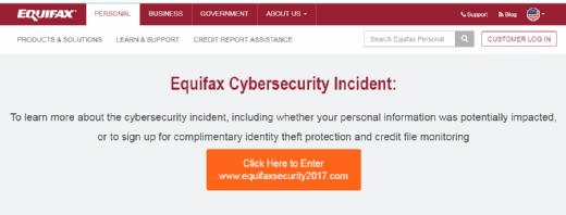 Equifax cybersecurity incident alert