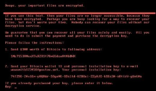 Screenshot of ransomware message shown after files have been encrypted.
