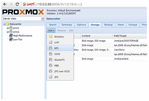 Add NFS storage to cluster Proxmox nodes.