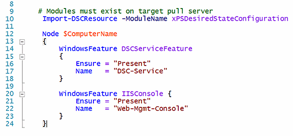 Import the DSC resource module to the target pull server