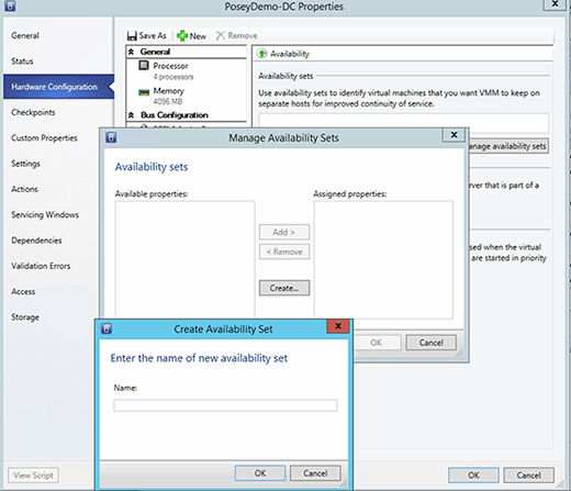 Creating an availability set.