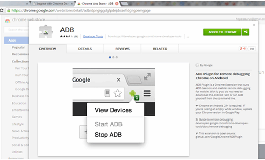 Android Debug Bridge Chrome extension
