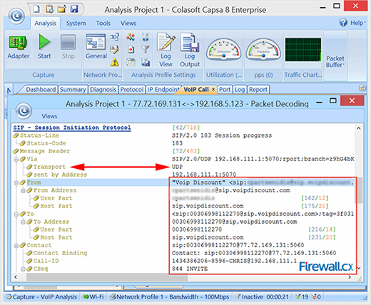 Network analyzer captures a SIP session with a SIP provider