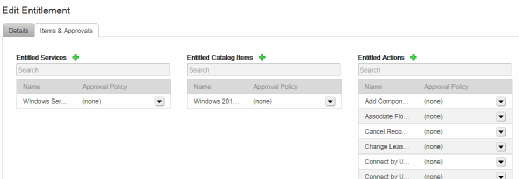 Options for editing entitlement services.