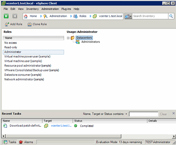 Displaying the roles of users in vSphere Client