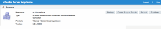 Click the Backup button in vCSA for fast backup.