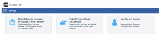 vCloud Air main menu