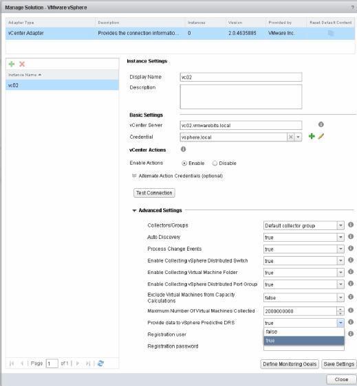 Configuring vROps to send data to vCenter.