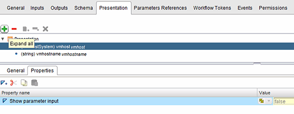 Set presentation properties to the vmhost