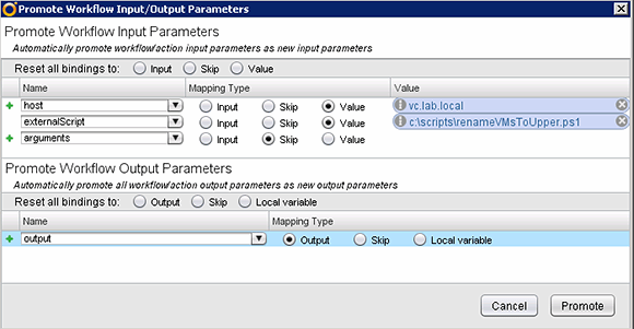 Adjust the input/output parameters