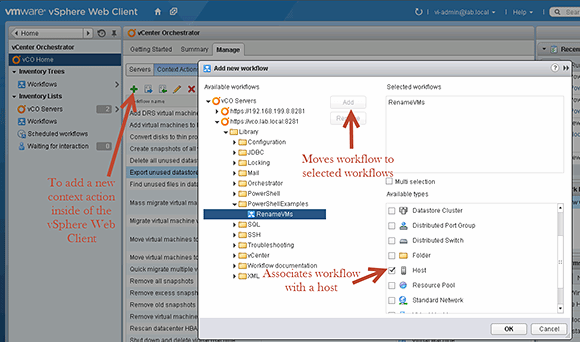 Set up the vSphere Web Client to add the workflow