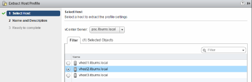 Select a host to extract its profile.