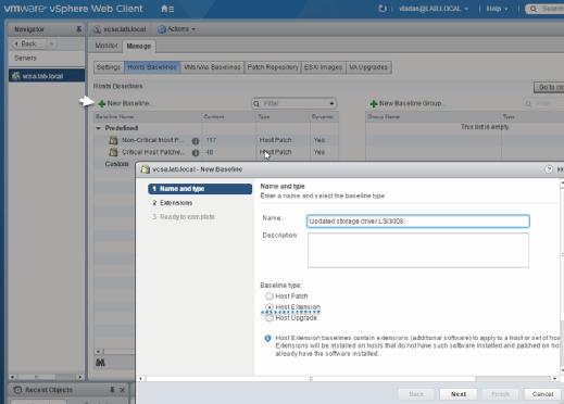 VUM Create a host extension.