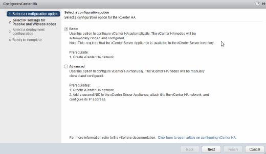 Configure vCenter HA.