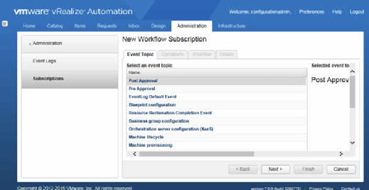 New Workflow Subscription window in vRealize Automation 7.
