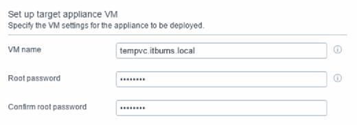 Set up target appliance VM name.