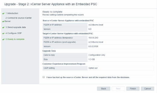 vCSA with an Embedded PSC summary