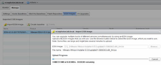 Import the ESXi 6.5 U1 ISO to upgrade with VUM.