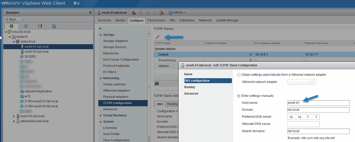 How do you change ESXi 6 5 host names and DNS configuration?