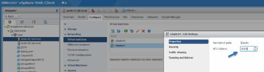 Change VMkernel port MTU size to reduce packet fragmentation