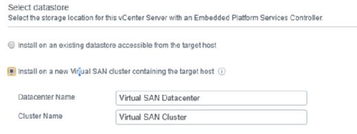 VSAN cluster options
