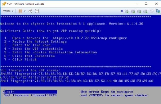 Einloggen in VDP über die VMware Remote Console