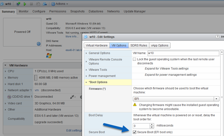 How does VMware secure boot protect VMs and ESXi hosts?