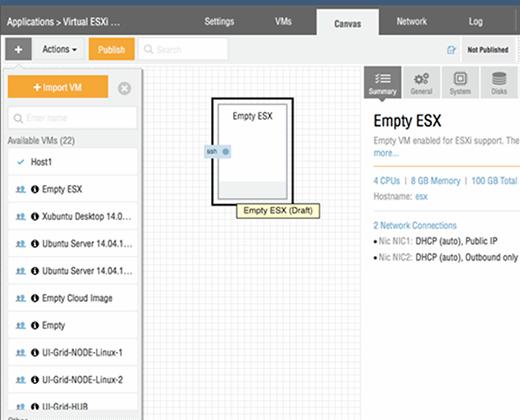 A closer look at the virtual ESXi design canvas.