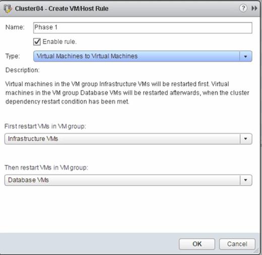 Creating a VM/Host rule.