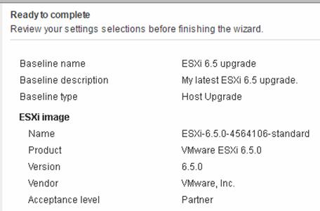 Review ESXI 6.5 upgrade settings