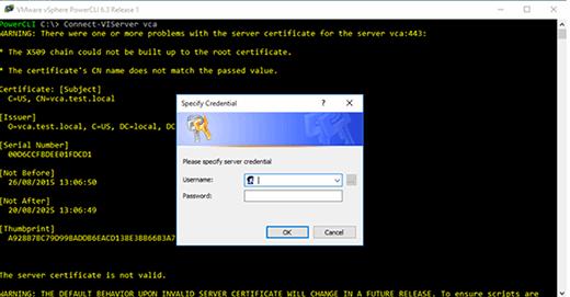 vCenter Server login window.