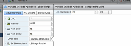 Creating new instances in the vRealize Appliance.