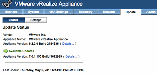 Checking updates in vRealize Appliance.