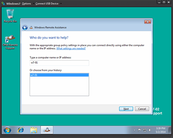 Figure 1. Screenshot of Remote Assistance shows how users give permission for support from IT