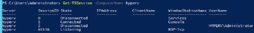 Get-TSSession -ComputerName HYPERV