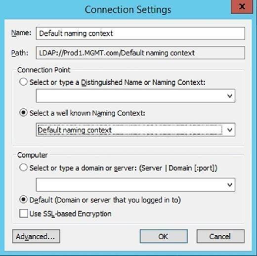 ADSI Edit naming context