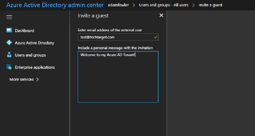 Azure Active Directory B2B invitation