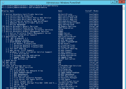 Get-WindowsFeature PowerShell cmdlet